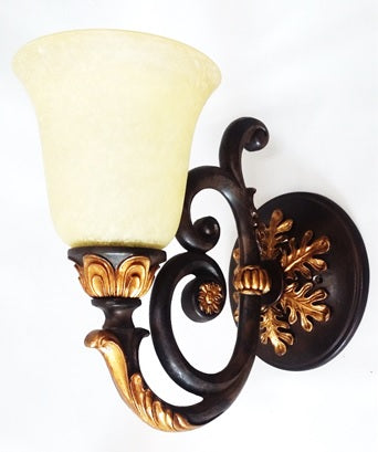 Wall Sconse Bronze and Gold Accent With Cream Glass 10-118-JSH-A64