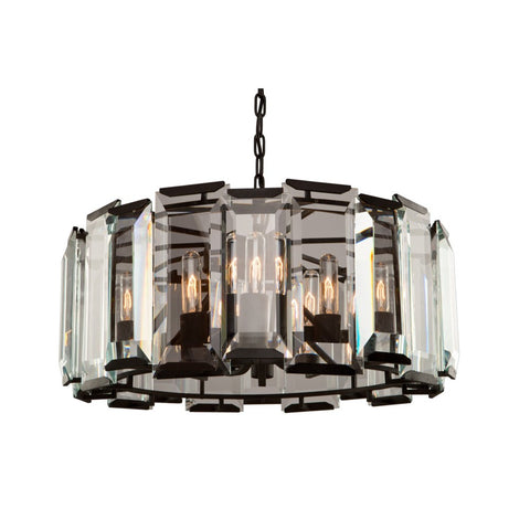 Chandelier Black Finish Metal And Clear Beveled Glass 15-618-ART