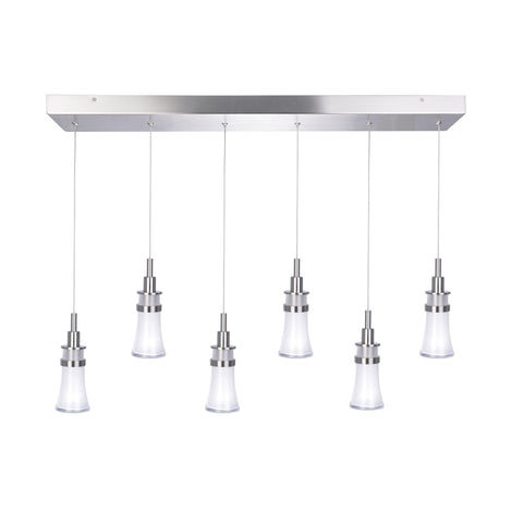 Chandelier 6 Lights Polished Nickel With Glass 014-618-TIN