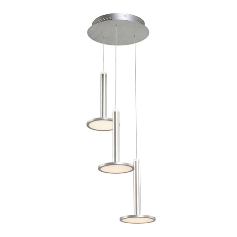 Chandelier 3 Lights Brushed Aluminum Finish 014-ART-618
