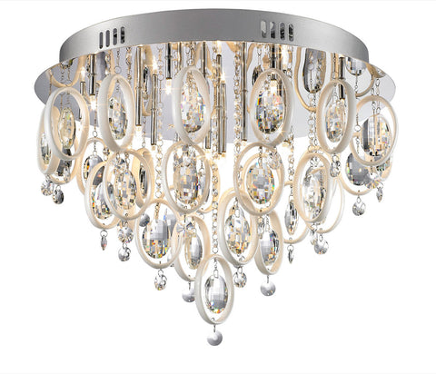 Flush Mount Chrome Finish and White Accents and Crystal #150807-25