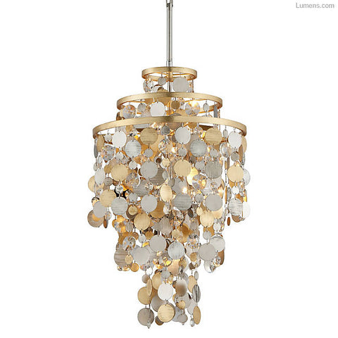 Chandelier  Stainless steel Clear Crystal  and Gold and Silver Leaf 020163-16