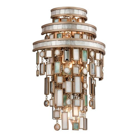 Wall Light  Silver Finish with Mixed Shells and Crystal 1002167-16