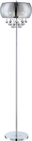 Floor Lamp Chrome Finish  With Smoke Mirrored Glass Shade And Crystal Accents #060833-014