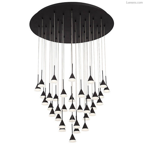 Chandelier Black Finish opal Acrylic Diffusers 107618-ion-92