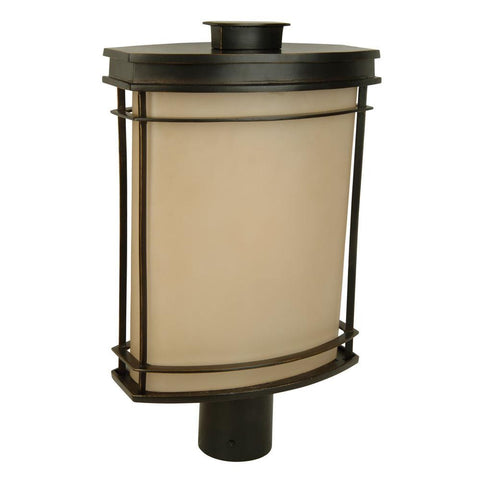 Outdoor Post Lamp Bronze Finish And Cream Glass #190913-015