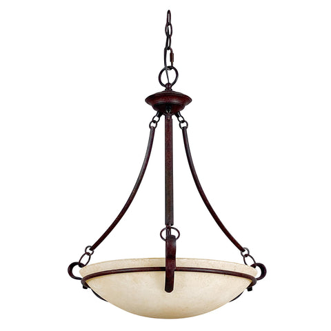 Pendant Three Light Rubbed Finish with Turismo Glass #020803-014