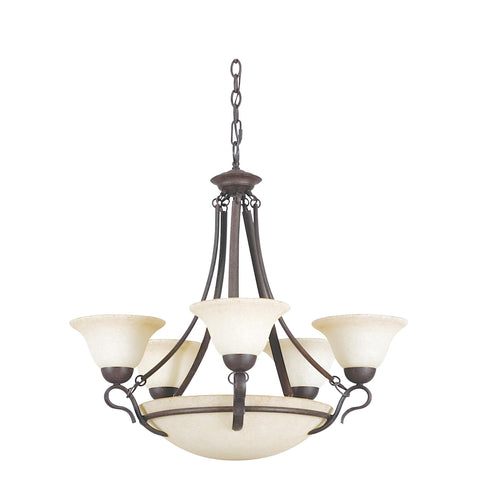 Chandelier Bronze Finish  With Turismo Glass #010803-34