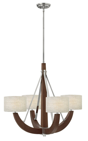 Chandelier Hard Wood Veneer Finish and Chrome Accents #010819-292