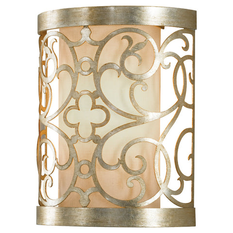Indoor Wall Light Silver Leaf And Cream Linen Shade #100840-17
