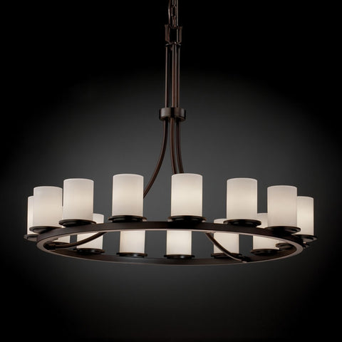 Chandelier Bronze Finish And Opal Glass #010828-015