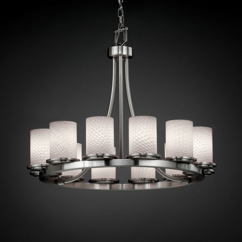 Chandelier Brushed Nickel Finish And Wave Glass $020828-015