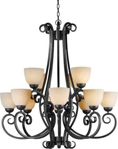 Chandelier Natural Iron Finish With Umber Glass #010820-37