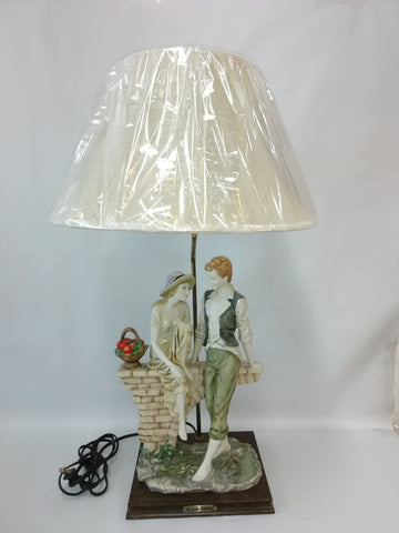 Table Lamp Ceramic Figurine With Silk Cream Shade  07-118-JSH-10