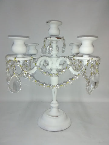 Accessories White metal Candle Holder With Crystal 20218-JSH-48