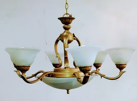 Chandelier Antique Bronze And Alabaster Glass Shades 121848-JSH-CUSM