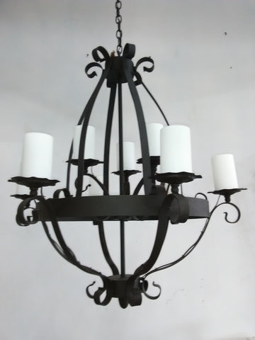 Chandelier Solid Iron Bronze Frame And Acrylic White Shades 121848