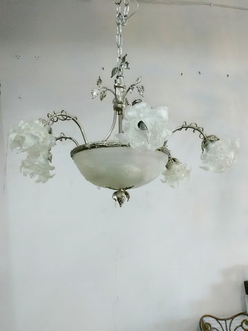 Chandelier Polished Nickel Cast Frame and Murano Glass 01-118-JSH-CH1