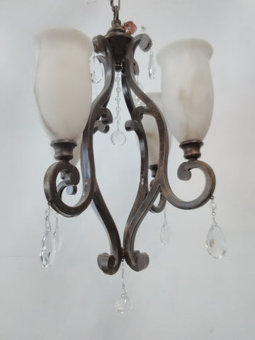 Chandelier Bronze And Shades With Crystal Accent 121826-JSH-MFL