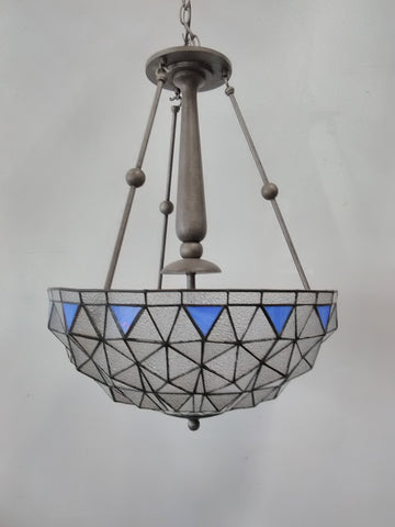 Chandelier Gray Finish And Seedy Glass With Blue Accent 121848-JSH-4895