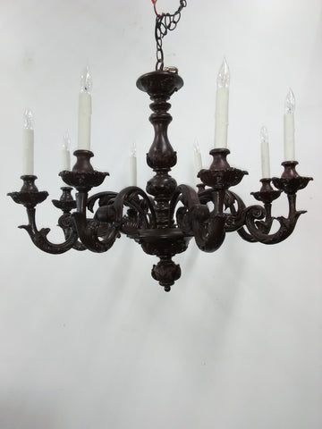 Chandelier Wood Hand Carved Dark Brown Finish  010118-JSH