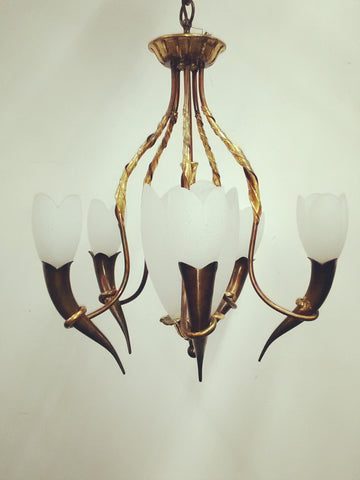 Chandelier Solid Brass Frame Bronze with Gold Leaf and Tulip Shape Glass 01-118-JSH-CH31