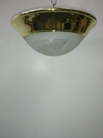 Flush Mount Brass Finish And Alabaster Glass 14218-JSH-TRAN5