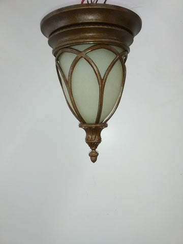 Outdoor Flush Mount Antique Gold And Cream Glass 16218-JSH26