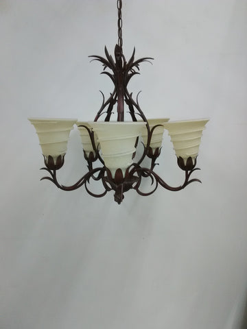 Chandelier Antique Brown Metal Finish With Cream Shade 01-118-JSH-CH37