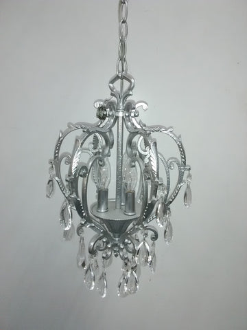 Chandelier Silver Finish And Clear Crystal 1218-JSH-WI-2