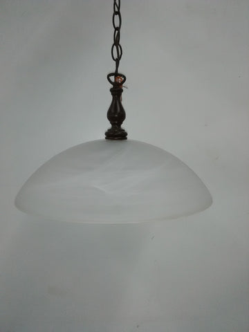 Pendant Dark Wood And Alabaster Glass Shade 2-118-JSH-21