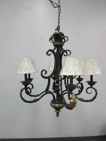 Chandelier Dark Gray and gold accent 01-JSH-01018
