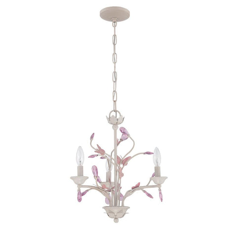 Chandelier White Finish And Pink Butterfly with Pink Crystals  #010801-015