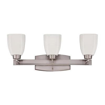 Vanity Light Brushed Nickel Finish And Frosted Glass #090801-308
