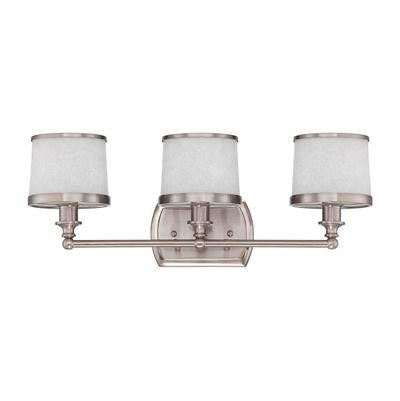 Vanity Light Brushed Nickel Finish And White Glass #090801-302