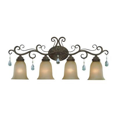 Vanity Light French Bronze with Light Amber Glass #90801-93