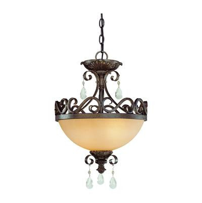 Semi Flush Mount  French Roast Finish With Light Amber Glass #150801-92