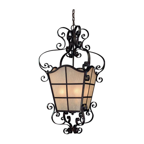 Pendant Iron Finish With Amber Etched Glass #020801-142 FP
