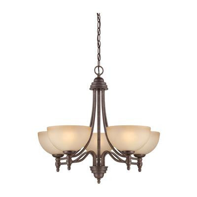 Chandelier oil Bronze Finish and Frosted Cream Glass Shades #01801-239