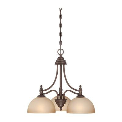 Chandelier  Oil Bronze Finish with Frosted Cream Glass Shades #01801-240
