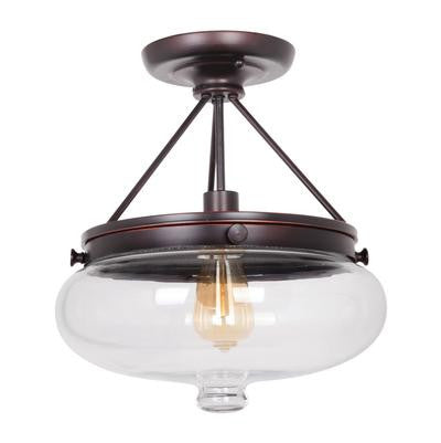 Semi Flush Mount Oiled Bronze Finish With Clear Glass#150801-71