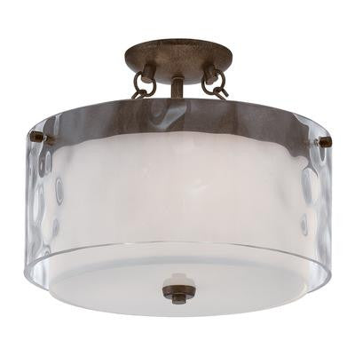 Flush Mount Light Bronze Finish And Clear Hammered  And Alabaster Glass #140801-117