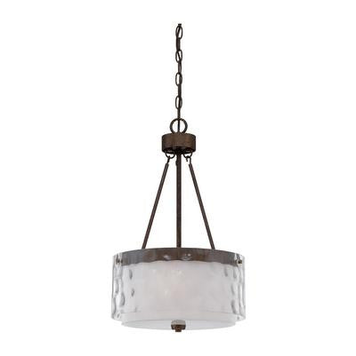 Pendant Light Bronze Finish And Clear Hammered and Alabaster Glass 020801-119