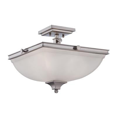 Semi Flush Mount Fixture  Polished Nickel and Frost Glass #14801-170