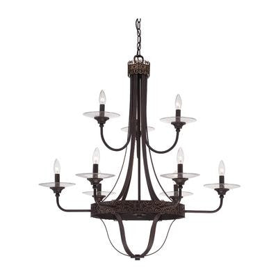 Chandelier  Antique Bronze and Clear Glass #010801-62