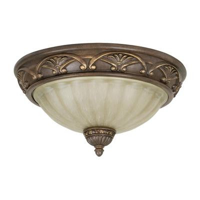 Flush Mount  Aged Bronze Finish  and Cream Glass #140801-296