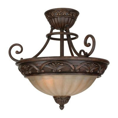 Semi Flush Mount  Aged Bronze Finish and Cream Glass #140901-296