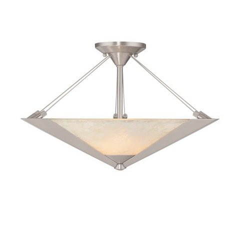 Semi Flush Mount Polished Nickel  And Frosted Glass #150838-14