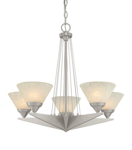 Chandelier Polished Nickel And frosted Glass #010838-014