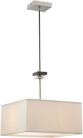 Pendant Satin Nickel Finish With Off White Linen Shade #020833-14
